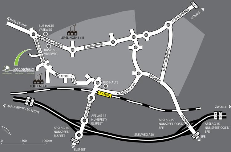 Routekaart Nunspeet t.b.v. Goedegebuure Tuin- en Landschapsarchitecten
